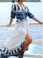 Beach Printed Short Sleeve Maxi Dress
