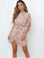 Ruffled Lace-Up Tie Short Sleeve Summer Dresses