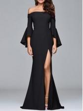 Boat Neck Ruffle Sleeve Split Hem Long Formal Dress