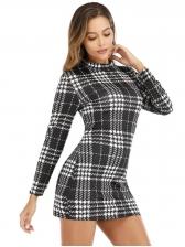 Mock Neck Long Sleeve Houndstooth Ladies Dress