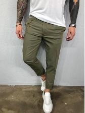 Versatile Solid Straight Mens Pants