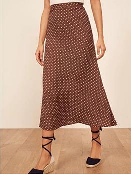 Retro Dot Midi A Line Skirt
