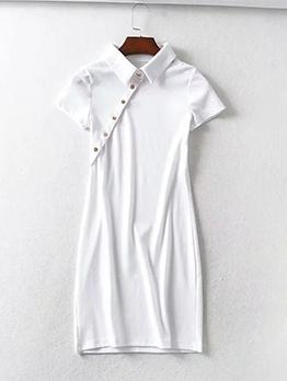 Slant Button Front Short Sleeve Casual Dresses