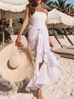 Vacation Style Tie-Wrap Ruffled Maxi Skirt