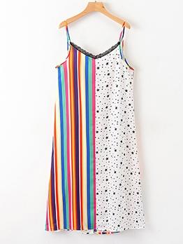 Colorful Striped Star Print Lacework Sleeveless Sundress