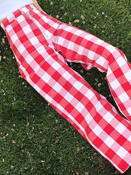 Front Zipper Flare Bottom Plaid Pants