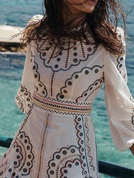 Stand Neck Embroidery Lantern Sleeve Ladies Dress
