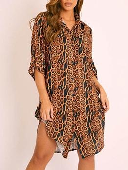 Hot Sale Long Sleeve Leopard Print Long Blouse