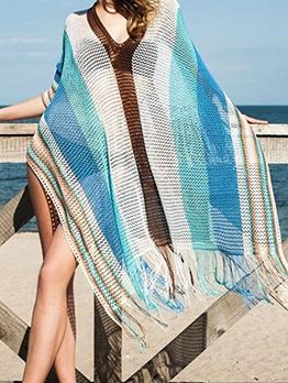 Contrast Color Crochet Tassel Hem Swimsuit Cover Up