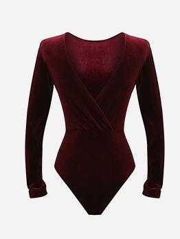 Solid V Neck Long Sleeve Velvet Bodysuit