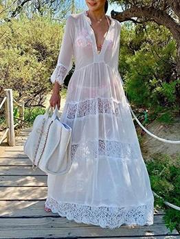 V Neck Lace Panel Beach Maxi Dress