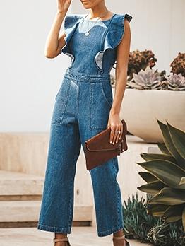 Trendy Backless Ruffled Sleeveless Denim Jumpsuit