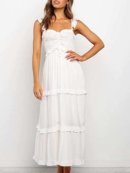 Square Neck White Sleeveless Maxi Dress For Vacation