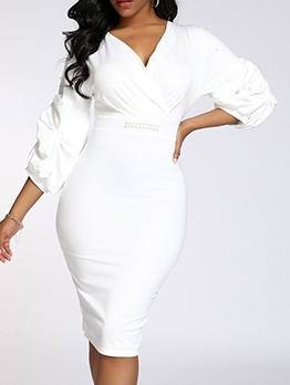Casual Rhinestone Decor Bodycon White Dress