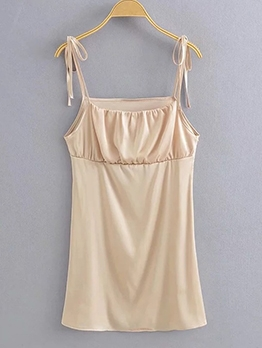 Casual Mini Solid Slip Women Sundress
