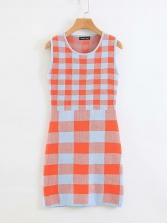 Knit Plaid Sleeveless Sheath Dress