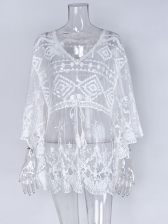 See Through Gauze Drawstring Swimsuit Cover Up