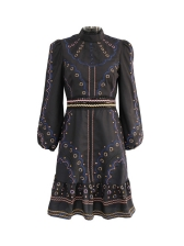 Stand Neck Embroidery Lantern Sleeve Ladies Dress