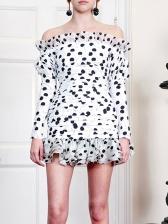 Fashion Ruffle Detail Polka Dots Off Shoulder Dress