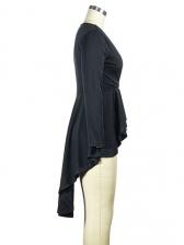 V Neck Ruffled Hem High-Low Long T Shirt