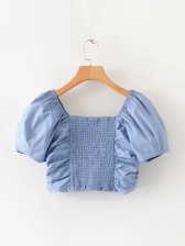 Ruched Cropped Short Sleeve Blue Blouse