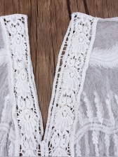 V Neck Embroidered Lace Swimsuit Cover Up