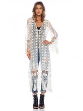 Lace Embroidery Tassel Hem Beach Cover Ups