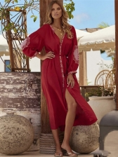 Embroidery Long Sleeve Beach Cover Up Dresses