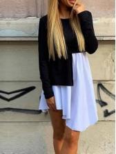 Asymmetric Hem Contrast Color Patchwork Long Sleeve Dress