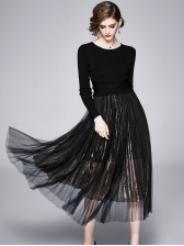 Solid Knit Top With Flowy Pleated Skirt