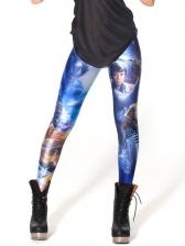 Printed High Waist Skinny Leggings For Women