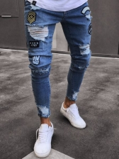 Solid Fitted Mid Waist Rinse Ripped Jeans