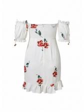 Boat Neck Floral White Short Sleeve Dress