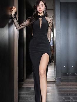 Dot Gauze Patchwork High Split Evening Maxi Dresses