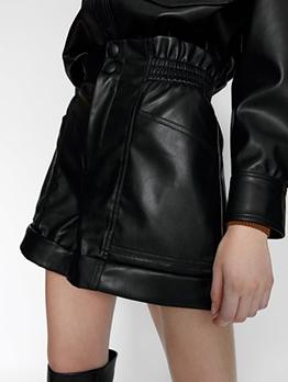 Black High Waist Pu Hot Pants