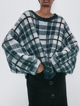 Plaid Lantern Sleeve Knit Sweater