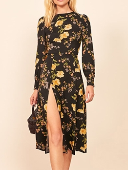 Vintage High Slit Long Sleeve Floral Dress