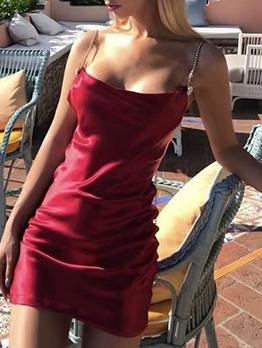 Rhinestone Strap Open Back Women Sundress