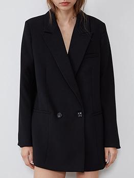 OL Style Double Buttons Black Blazer Dress