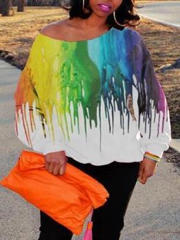Print Crew Neck Long Sleeve Loose T-Shirt