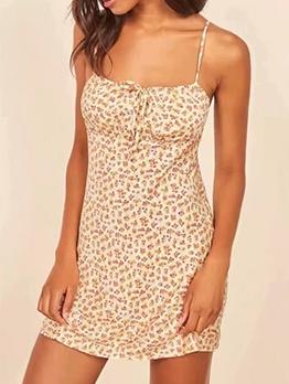 Casual Open Back Print Slip Dress