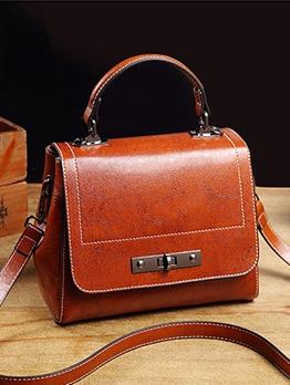 Twist Lock Solid Casual Shoulder Bag With Handle