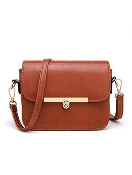 Simple Style Solid Twist Lock Ladies Shoulder Bags