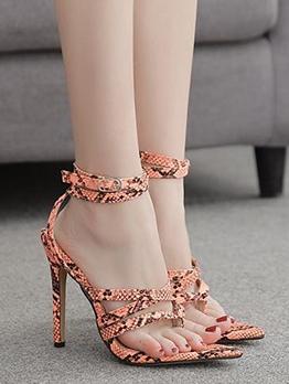Flip Flops Heel Snakeskin Sandals