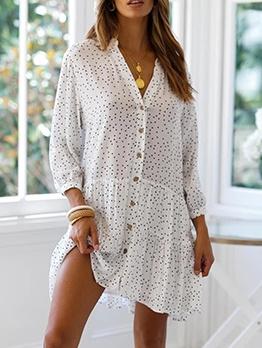 Polka Dot Single Breasted Long Sleeve Short Dress