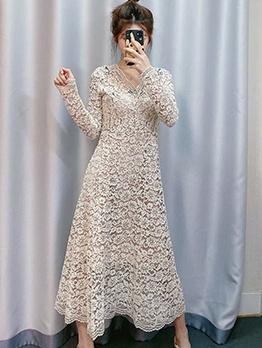 Trendy V Neck Long Sleeve Lace Dress