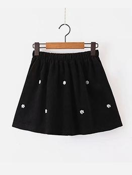 Embroidery Corduroy High Waist A-Line Skirt