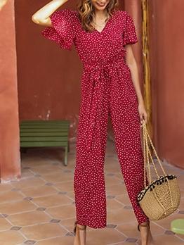 Hot Sale Polka Dots Red Wide Leg Jumpsuit