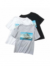 Oil Painting Printed Short Sleeve T Shirts For Women