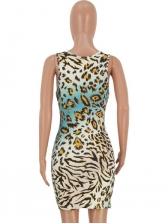 Euro Leopard Pattern Sleeveless Mini Dress